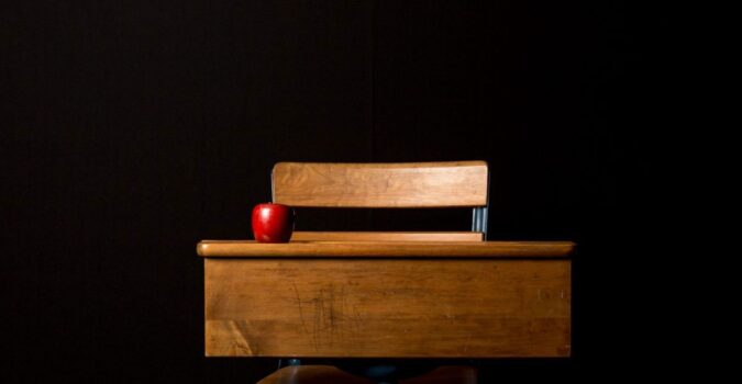 Desk with an apple