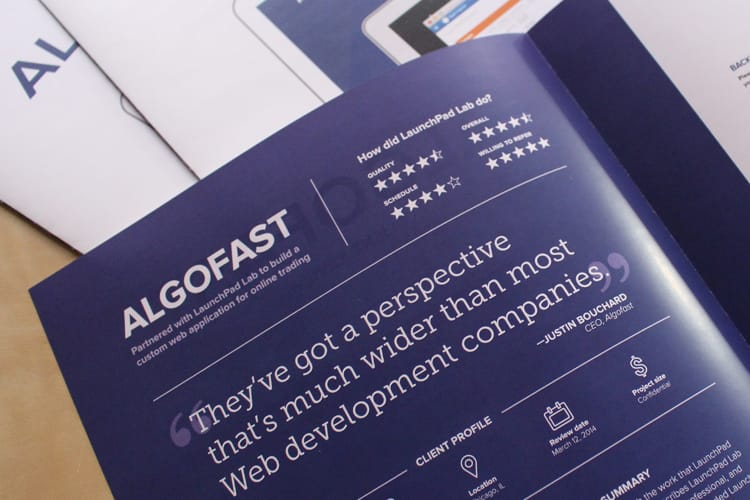 Algofast pamphlet explaining services