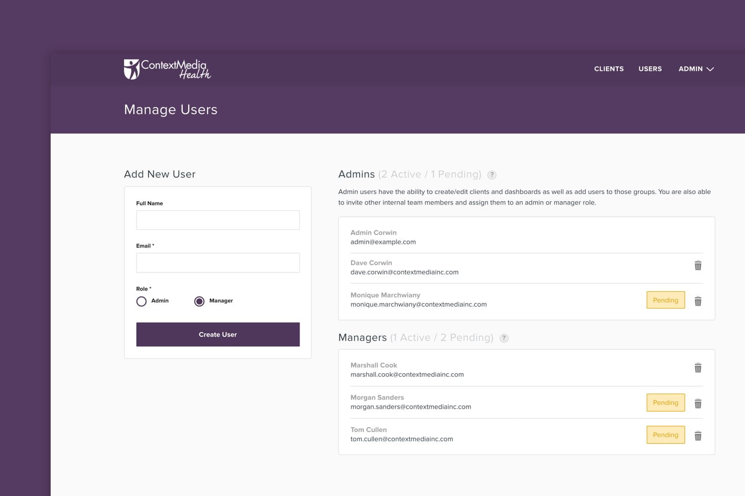 Context Media Manage Users page