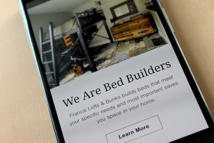 Francis Lofts and Bunks mobile interface