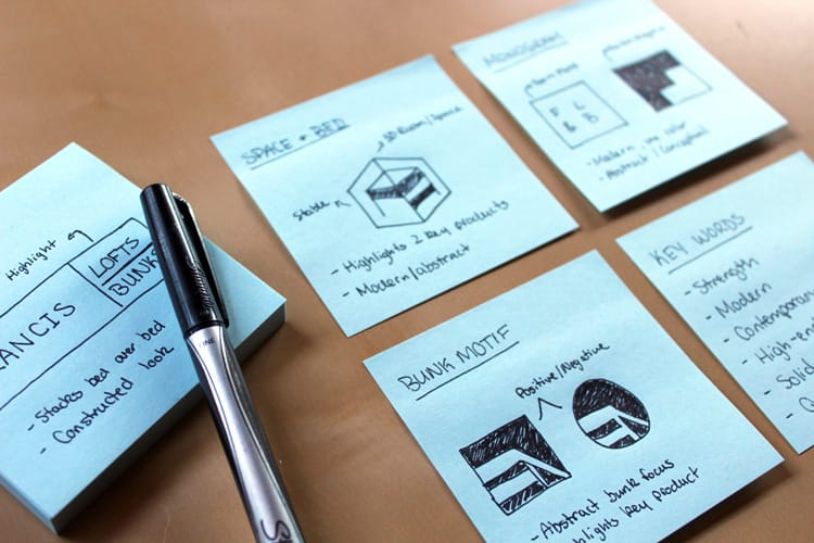 Francis Lofts and Bunks logo design workflow