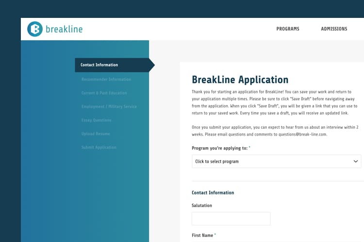 Breakline Education - Application