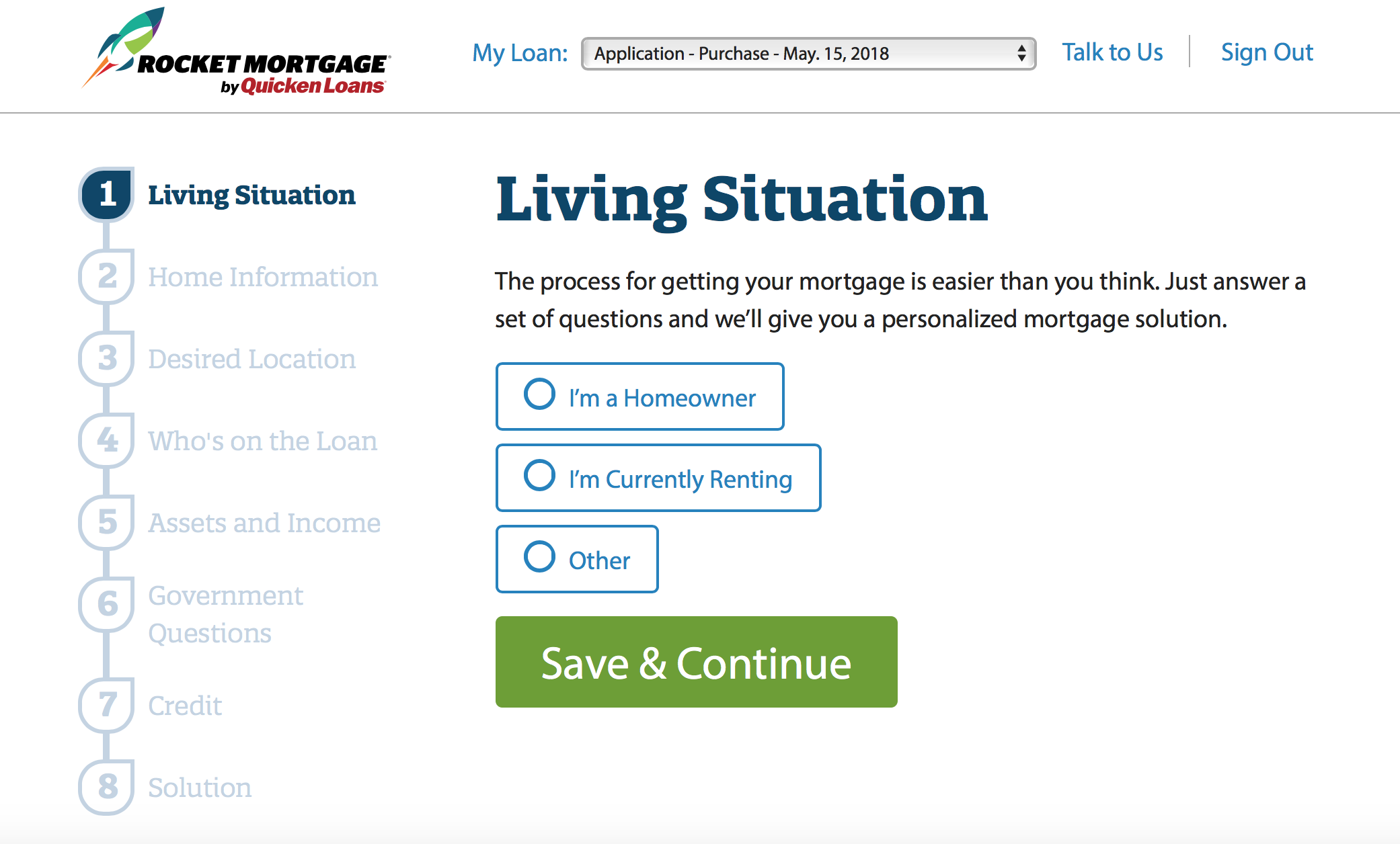 Rocket Mortgage app process for getting a loan.