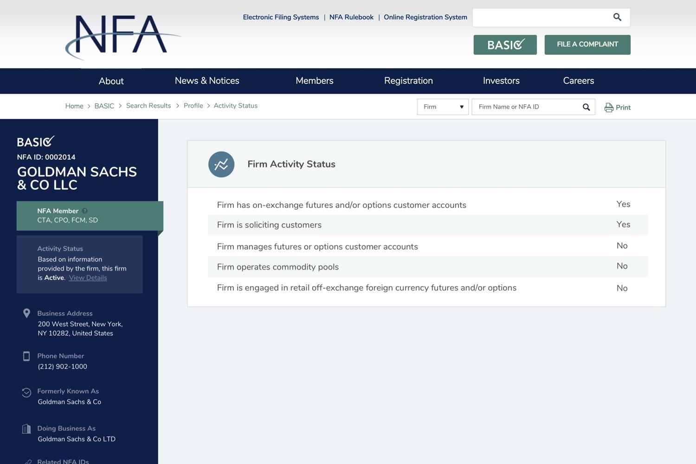 NFA - Activity Status