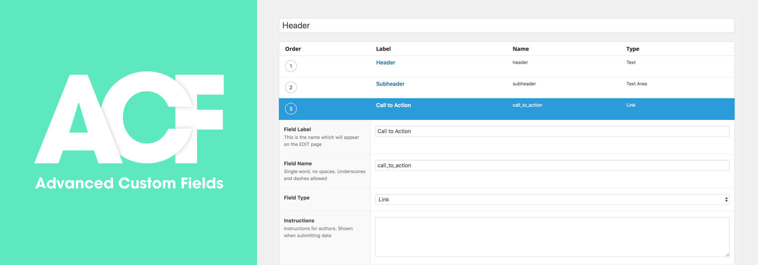 ACF adding a custom field UI screenshot