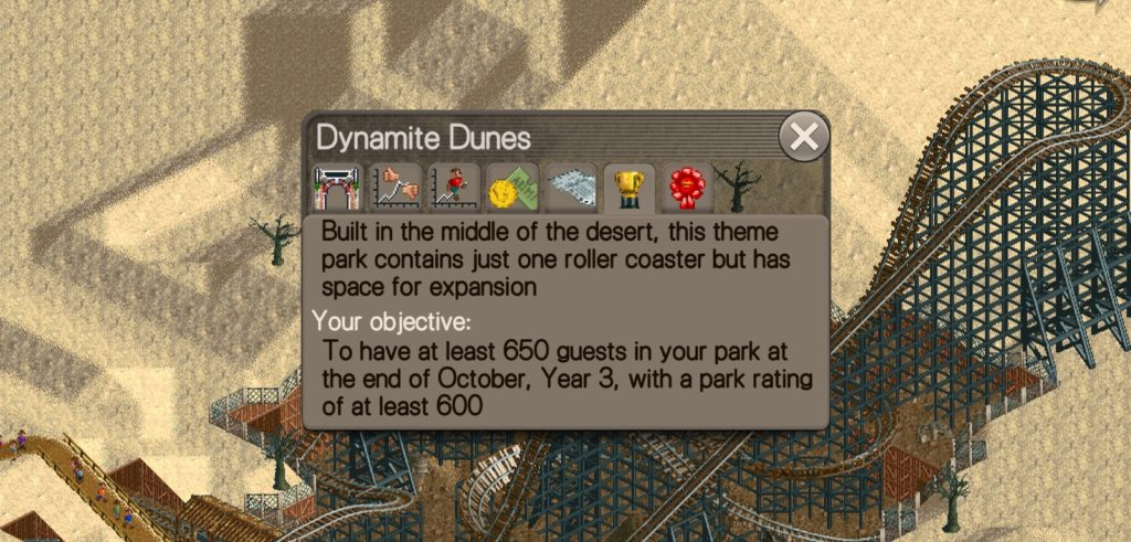Dynamite Dunes scenario where it was built in the middle of the desert and contains just one roller coaster but has space for expansion.