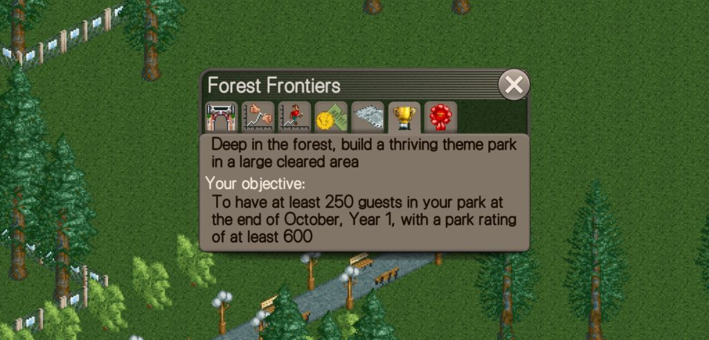 Forest Frontiers Scenario where your objective is to have at least 250 guests in your park the end of October, Year 1, with a park rating of at least 600.