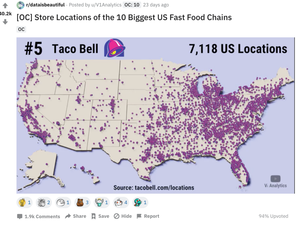 Screenshot of Taco Bell locations